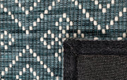 Bellevue Teal Grey Hand Woven Pure Wool Low Pile Floor rug - Stella Rugs