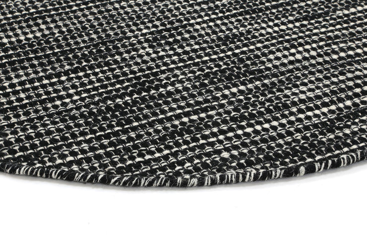 Scandi Black White Reversible Wool Round Rug - Stella Rugs