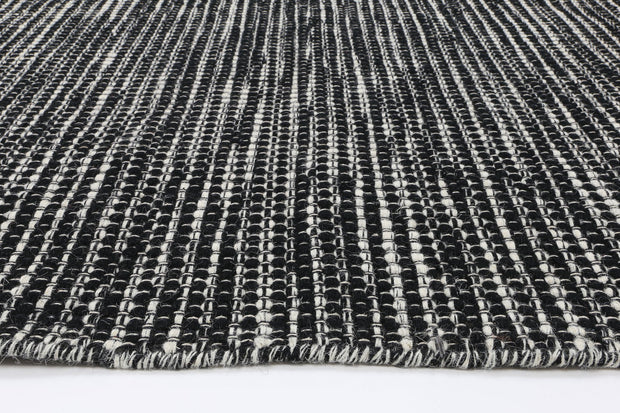 Scandi Black White Reversible Wool Rug - Stella Rugs