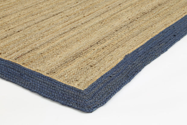 Hampton Navy Blue Border Jute Rug - Stella Rugs
