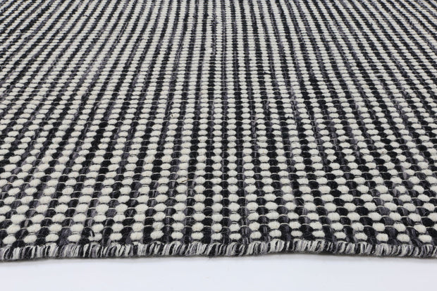 Scandi Charcoal Grey Reversible Wool Rug - Stella Rugs