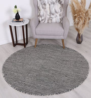 Scandi Charcoal Grey Reversible Wool Round Rug - Stella Rugs