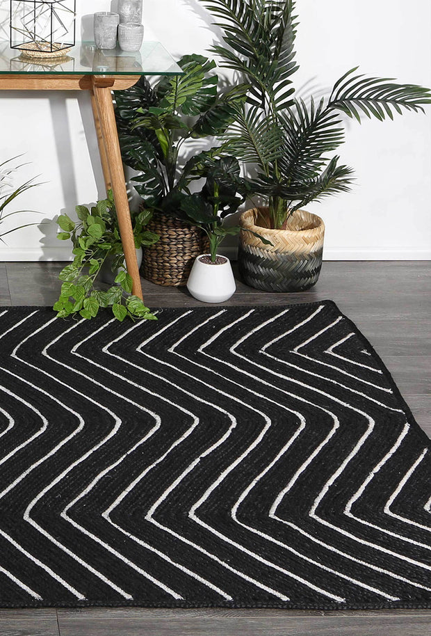 Artisan Black Natural Chevron Jute Rug - Stella Rugs