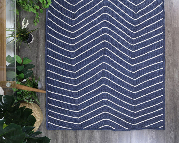 Artisan Navy Blue Natural Chevron Jute Rug - Stella Rugs