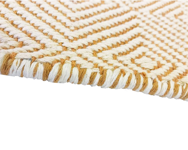 Diamond Orange and White - 100% Cotton Rug - Stella Rugs