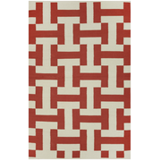 Modern Canal Red - 100% Recycled Cotton Rug - Stella Rugs