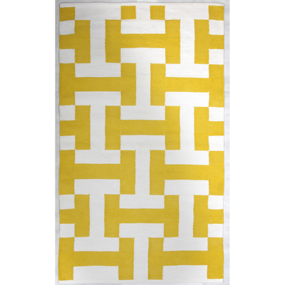 Modern Canal Yellow - 100% Recycled Cotton Rug - Stella Rugs