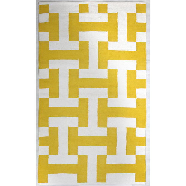 Modern Canal Yellow - 100% Cotton Rug - Stella Rugs