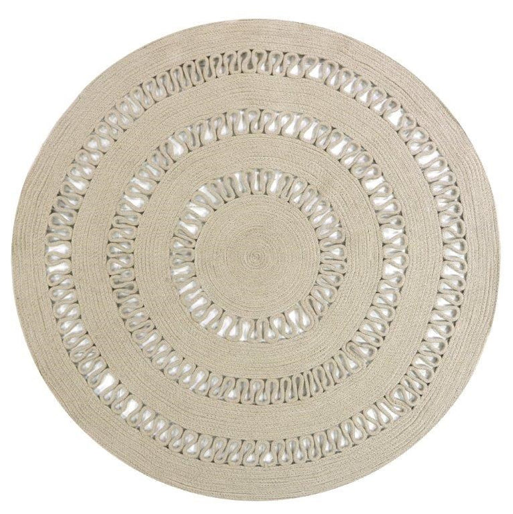 Dotti Taupe Hand Loomed Circular Cotton Rug - Stella Rugs