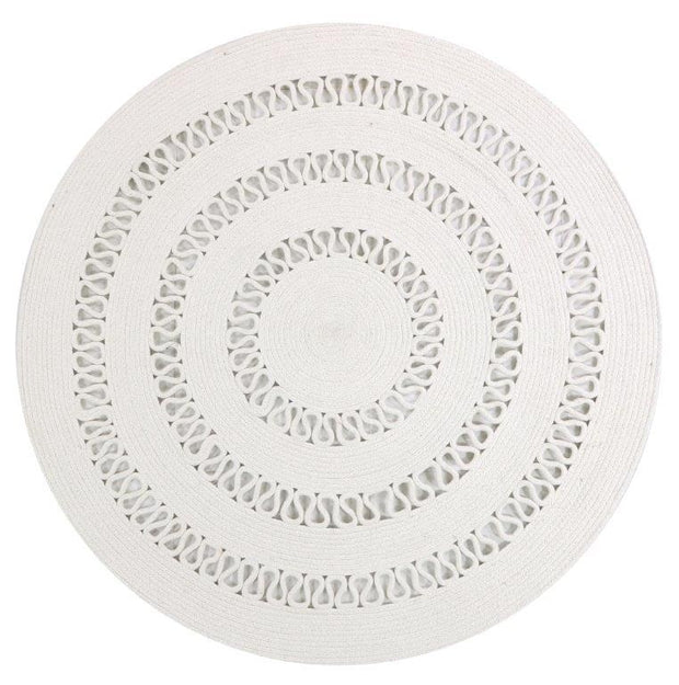 Dotti White Hand Loomed Circular Cotton Rug - Stella Rugs