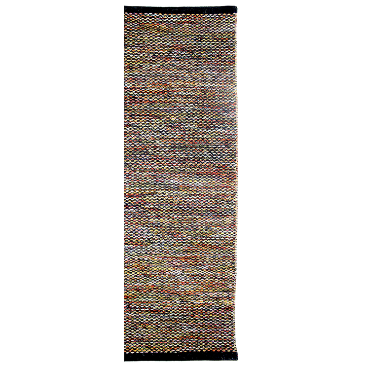 Daisy Black Modern Flat Weave Pure Wool Fully Reversible Runner - Stella Rugs