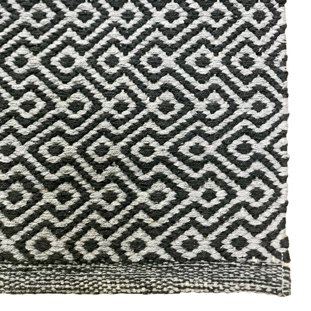 Diamond Waves Charcoal Runner - 100% Cotton Rug - Stella Rugs