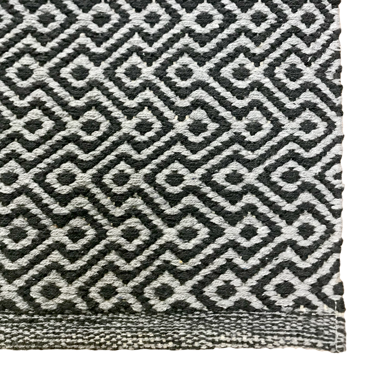 Diamond Waves Charcoal - 100% Cotton Rug - Stella Rugs