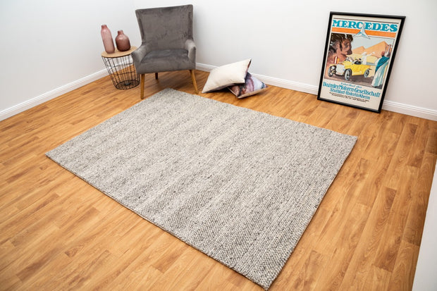 Diva Silver Braided Hand Loomed Wool/Viscose Blend Floor Rug - Stella Rugs