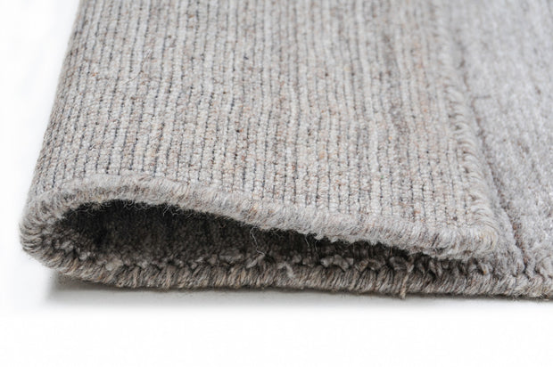 Fjord Modern Fossil Grey Hand Loomed Wool / Viscose Blend Runner - Stella Rugs