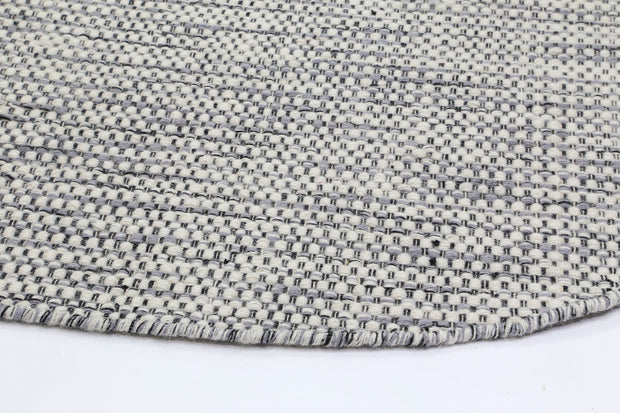 Scandi Grey Reversible Wool Round Rug - Stella Rugs