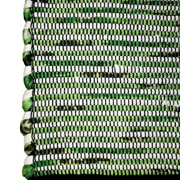 Gypsy Green Hand Woven Recycled Cotton Runner - Stella Rugs
