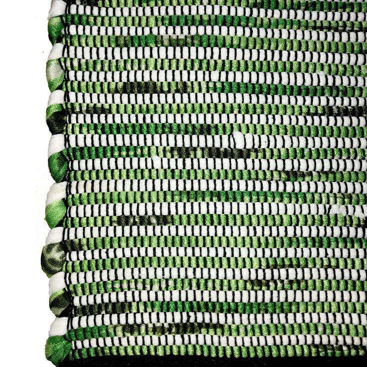 Gypsy Green Runner - Hand Woven Cotton & Recycled Fibre - Stella Rugs