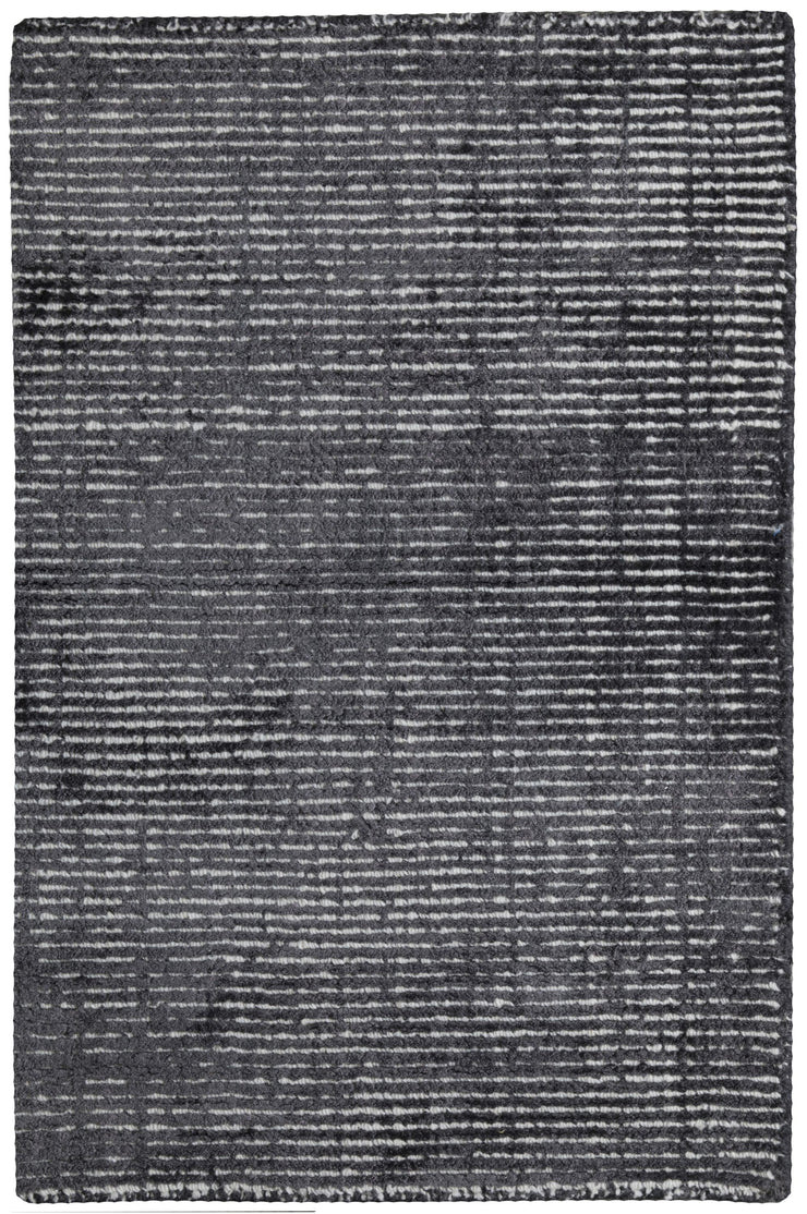 Hamptons Charcoal/White Hand Loomed Wool/Viscose Floor Rug - Stella Rugs