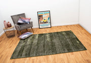 Hamptons Green/White Hand Loomed Wool/Viscose Floor Rug - Stella Rugs
