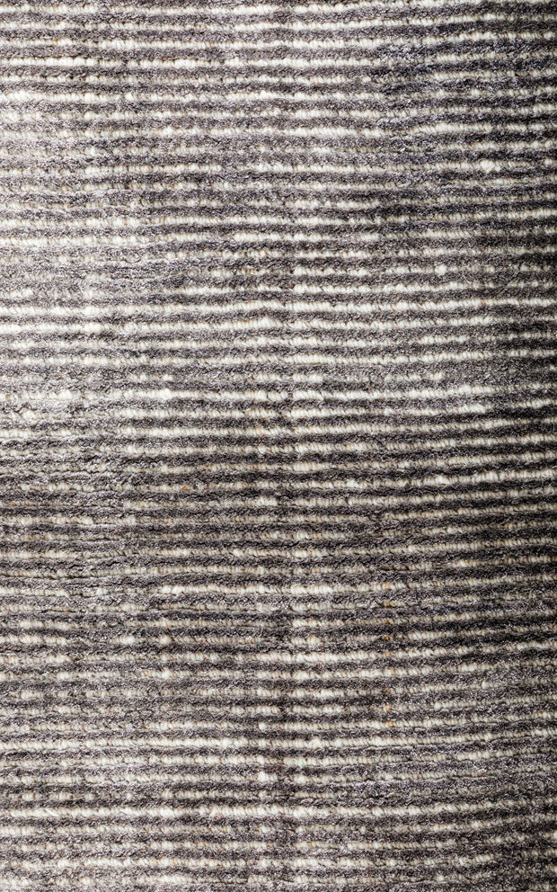 Hamptons Grey/White Hand Loomed Wool/Viscose Floor Rug - Stella Rugs