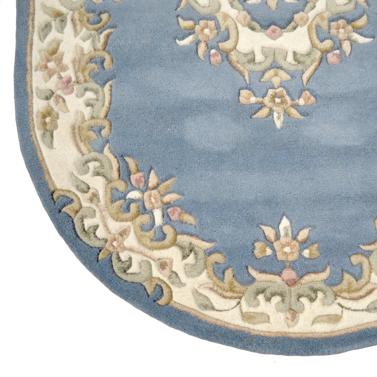 Jewel Blue Oval - Hand Tufted Wool Rug - Stella Rugs