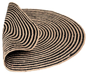 Jute - Azelia Black Hand Braided Circle Floor Rug - Stella Rugs