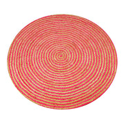 Jute - Azalia Red Hand Braided Circle Floor Rug