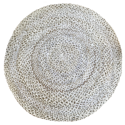 Jute - Katie Grey/Bleach Circle Hand Braided Rug - Stella Rugs