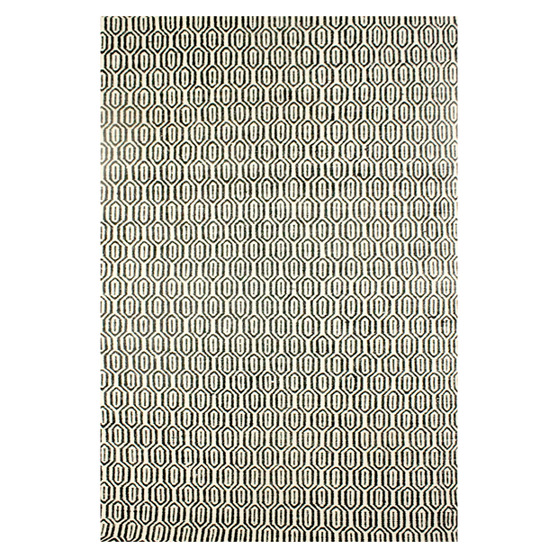 Lisa Black - Modern Flat Weave 100% Wool Fully Reversible - Stella Rugs