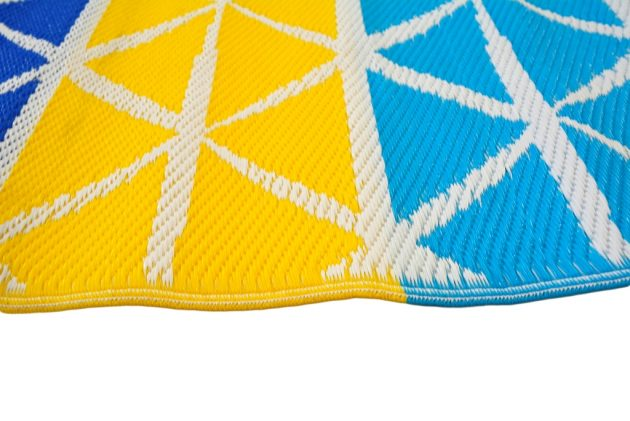Diamond Lines Blue and Yellow Outdoor Rug - Stella Rugs