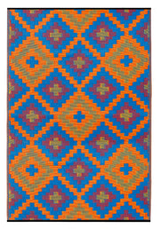 Saman Blue & Orange Outdoor Rug - Stella Rugs