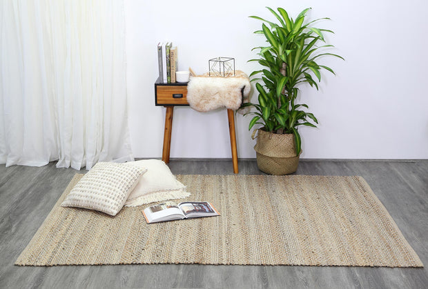 Taj Grey Natural Basket Weave Jute Rug - Stella Rugs