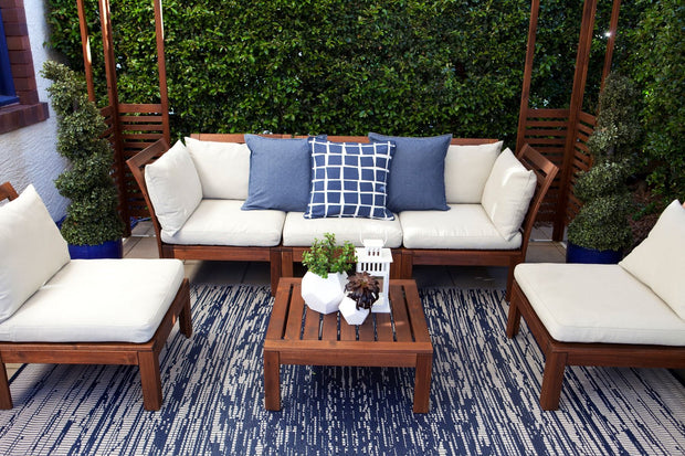 Brooklyn Navy and White Outdoor Rug