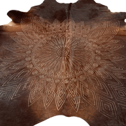 Genuine Brazilian Cowhide Rug With Lasercut Mandala Design - Stella Rugs