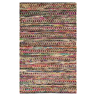 Jag Black Jute/Recycled Cotton Flat Weave Eco Floor Rug - Stella Rugs