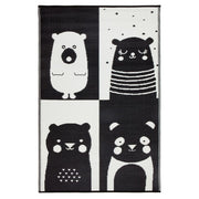 Nika Bear Black and White Childrens Outdoor Rug - Stella Rugs
