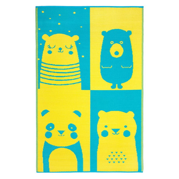 Nika Bear Blue and Yellow Childrens Outdoor Rug - Stella Rugs