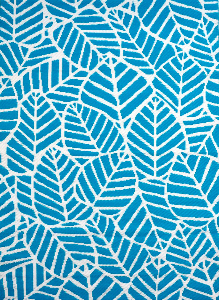 Leaves Aqua and White Outdoor Rug - Stella Rugs
