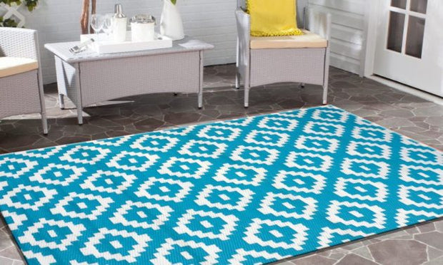 Diamonds Aqua and White Outdoor Rug - Stella Rugs