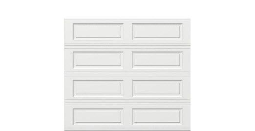 9 x 8 Traditional Steel Garage Door (Long) white panels, no window