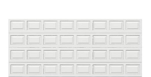 16 x 7 Traditional Steel Garage Door (Standard) white panels, no window