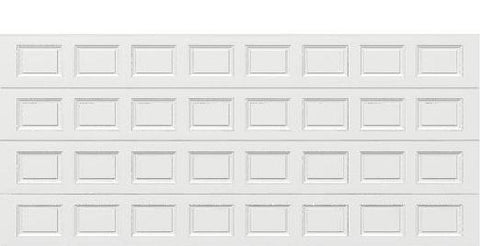 18 x 8 Traditional Steel Garage Door (Standard) white panels, no window