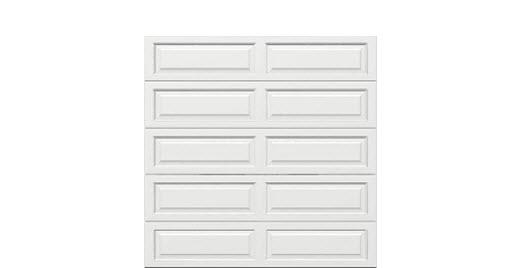 8 x 8 Traditional Steel Garage Door long white panels, no window