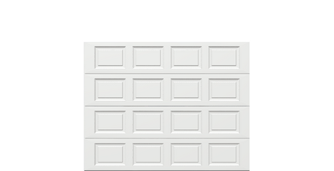 9 x 7 Traditional Steel Garage Door (Standard) white panels, no window