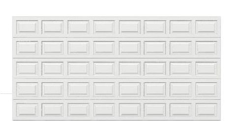 16 x 8  Traditional Steel Garage Door standard white panels, no window