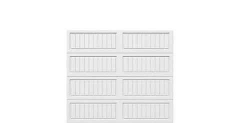 8 x 7 Thermacore Insulated Steel Garage Door (V10) white panels, no window