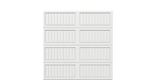 8 x 8 Thermacore Insulated Steel Garage Door (V10) white panels, no window