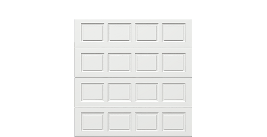 8 x 8 Thermacore Insulated Steel Garage Door standard white panels, no window