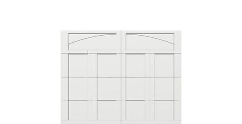 9 x 7 garage door white panel  - Courtyard 163t arch - no window